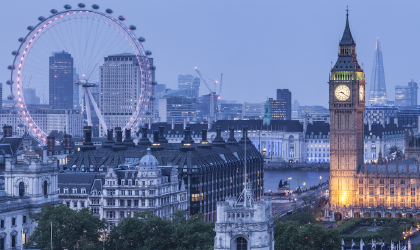 London landmark, Big Ben clock tower and the Houses of Parliament, view from above at dusk.
